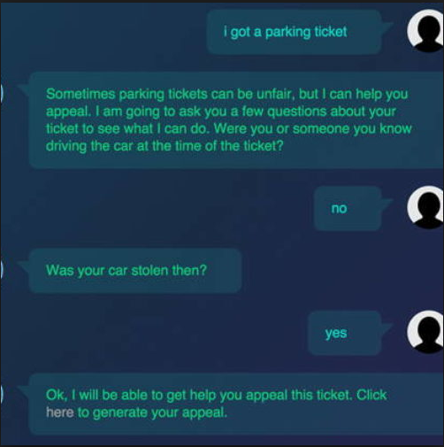 A recently created parking ticket Chatbot called DonNotPay successfully appealed $4 Million in Parking Tickets